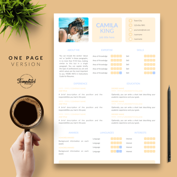 Resume CV Template - Camila King 02 - One Page Version