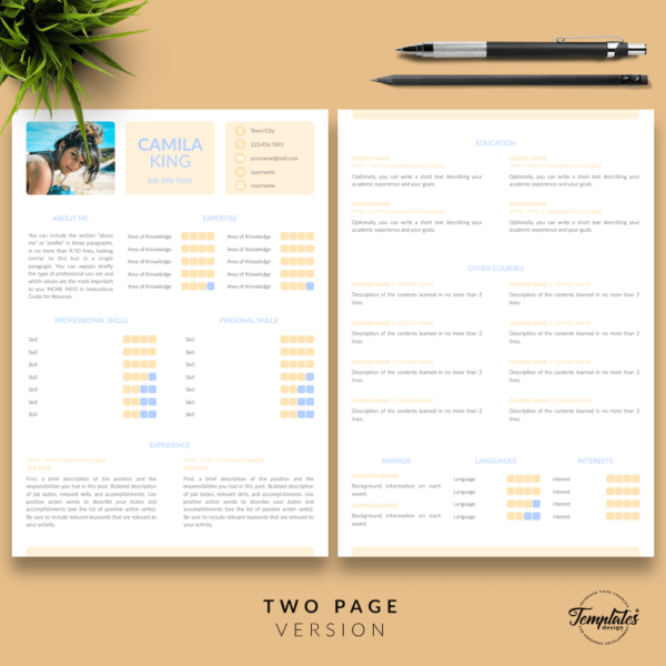 Resume CV Template - Camila King 03 - Two Page Version