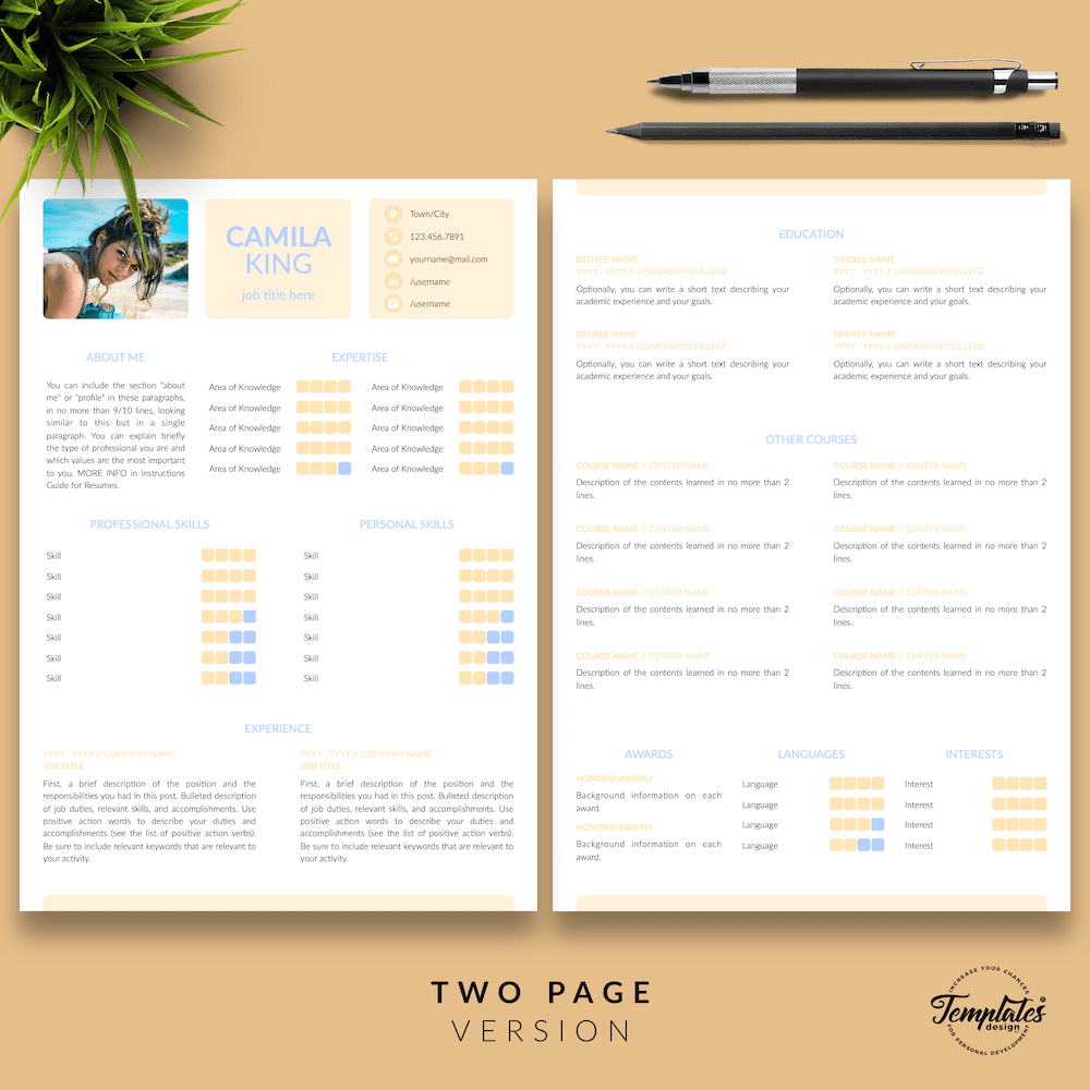 Resume Example for Any Job - Camila King 03 - Two Page Version