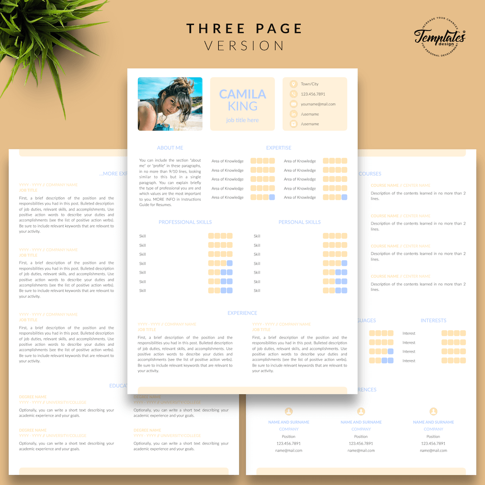 Resume Example for Any Job - Camila King 04 - Three Page Version