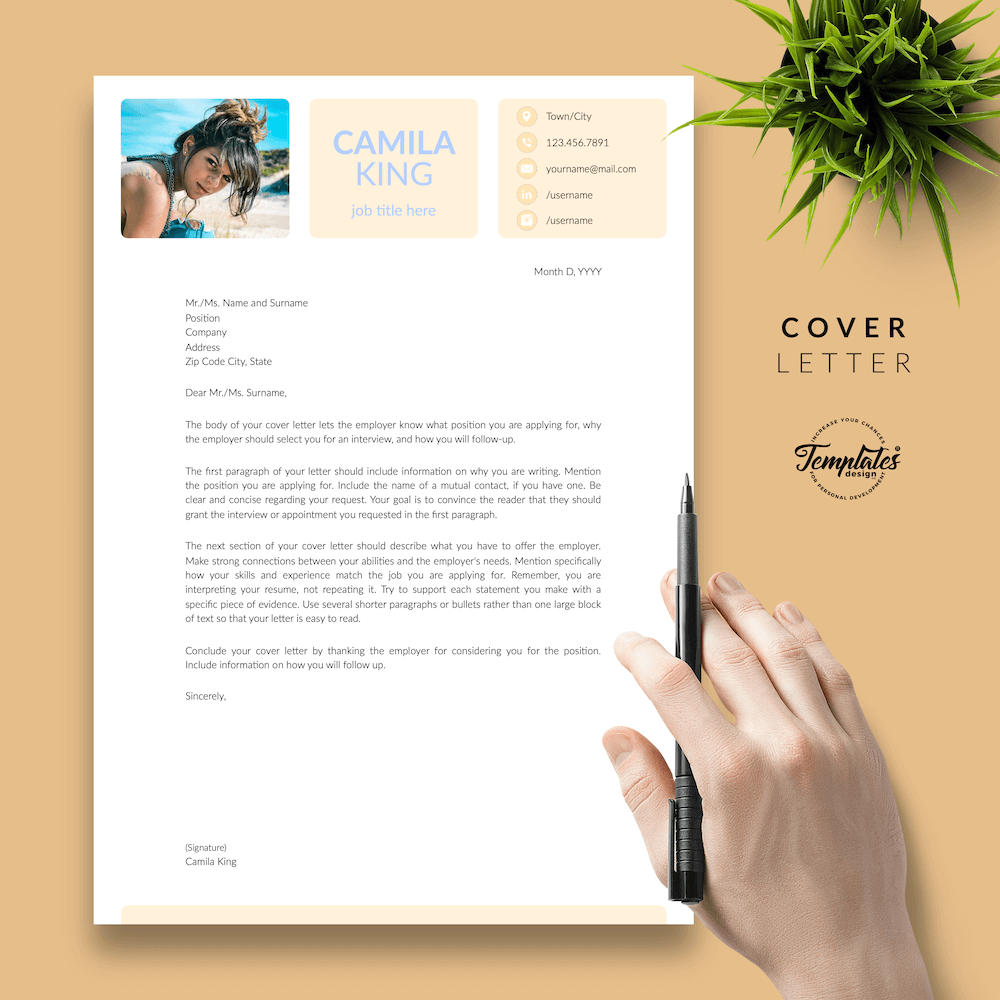 Resume Example for Any Job - Camila King 05 - Cover Letter