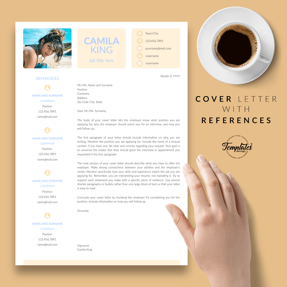 Resume Example for Any Job - Camila King 07 - Cover Letter with References
