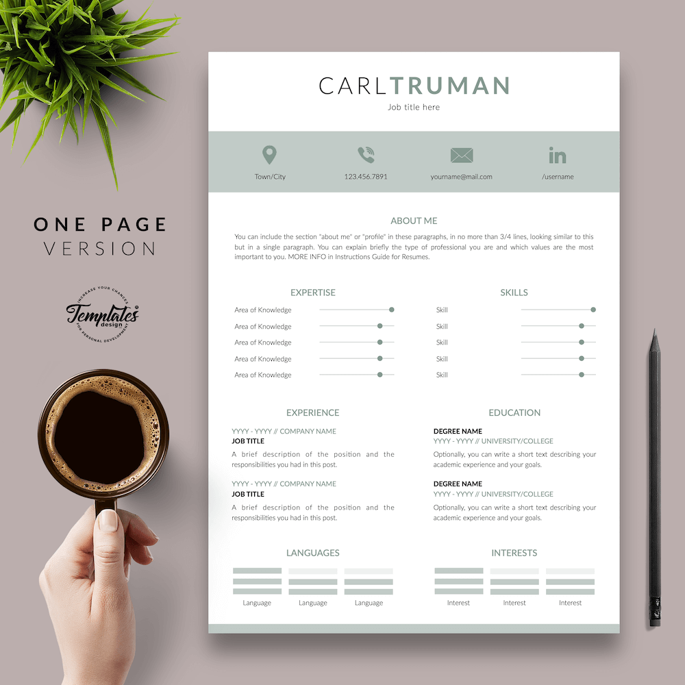 Professional Resume CV Template - Carl Truman 02 - One Page Version
