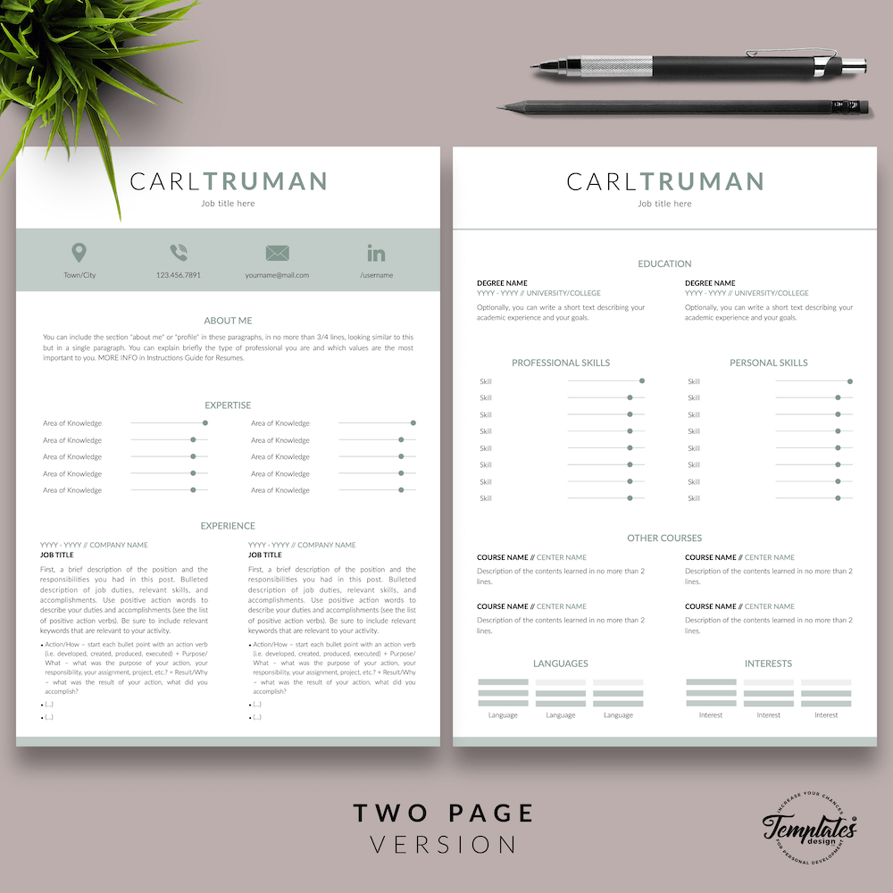 Professional Resume CV Template - Carl Truman 03 - Two Page Version