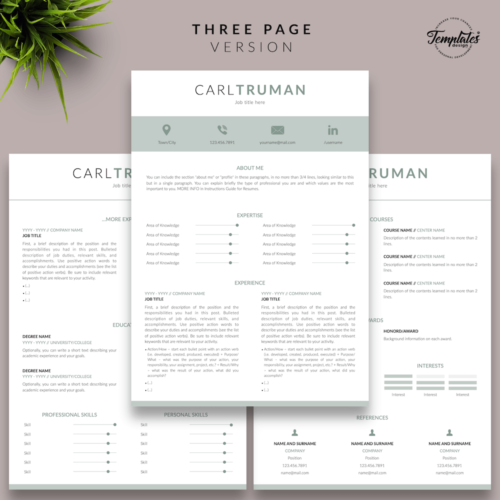 Professional Resume CV Template - Carl Truman 04 - Three Page Version