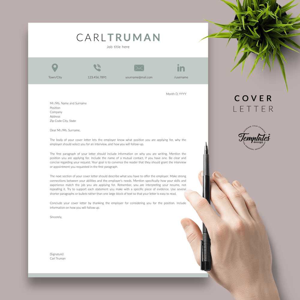 Professional Resume CV Template - Carl Truman 05 - Cover Letter