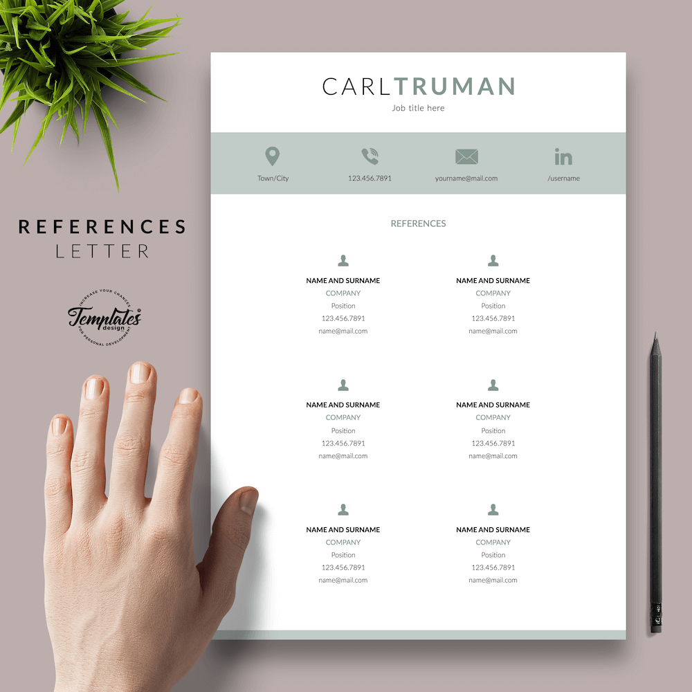 Professional Resume CV Template - Carl Truman 06 - References