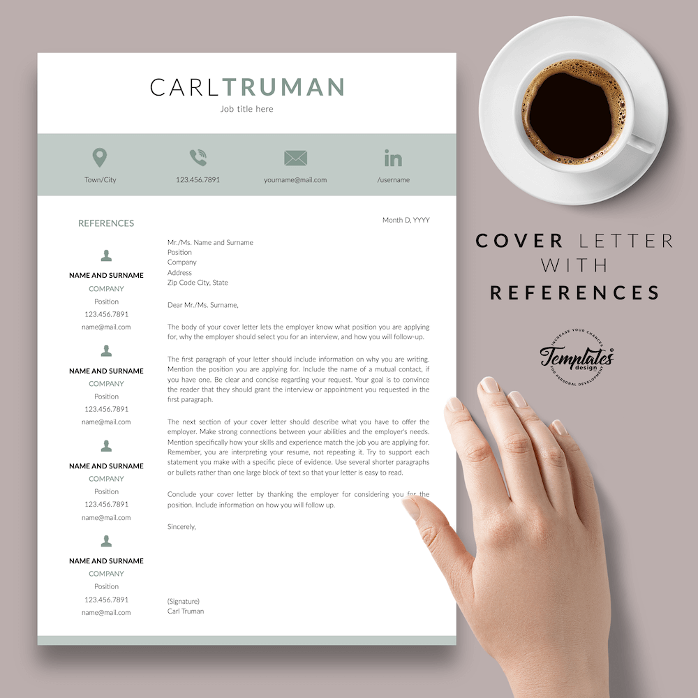 Professional Resume CV Template - Carl Truman 07 - Cover Letter with References