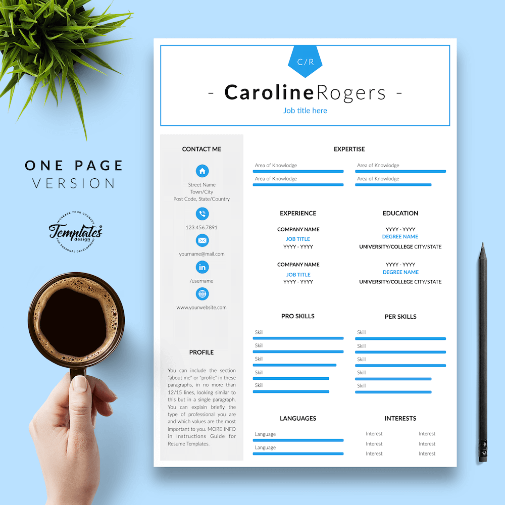 Resume Format for Engineer - Caroline Rogers 02 - One Page Version