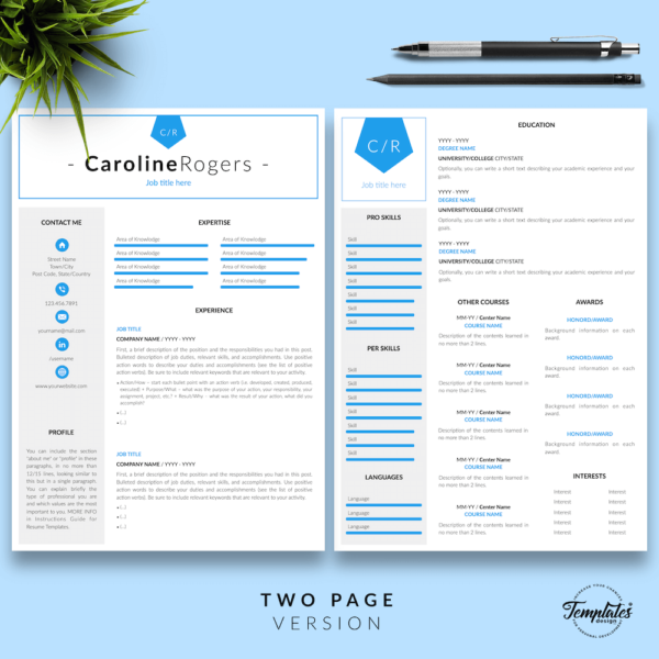 Resume CV Template - Caroline Rogers 03 - Two Page Version