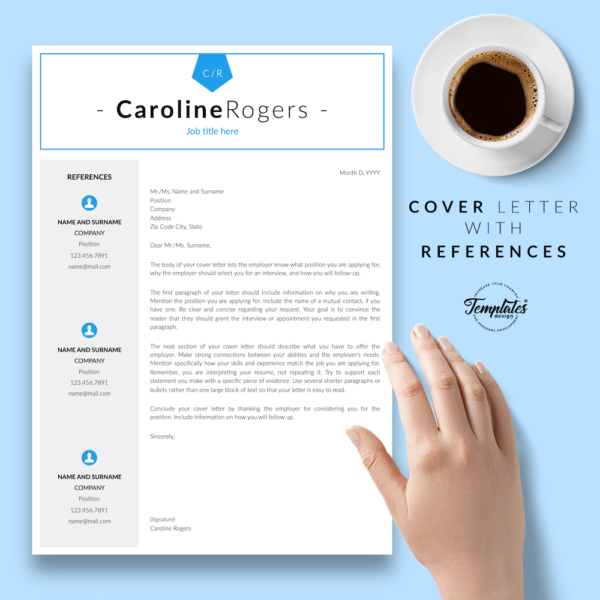 Resume CV Template - Caroline Rogers 07 - Cover Letter with References