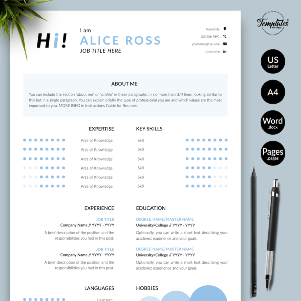 Resume CV Template - Alice Ross 01 - Presentation
