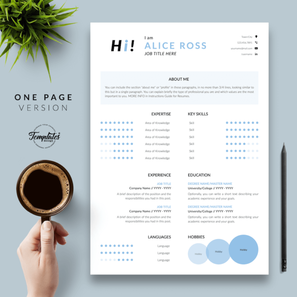 Resume CV Template - Alice Ross 02 - One Page Version