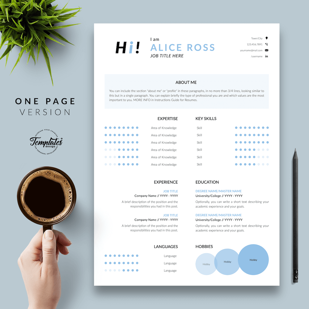 Creative Resume Format - Alice Ross 02 - One Page Version