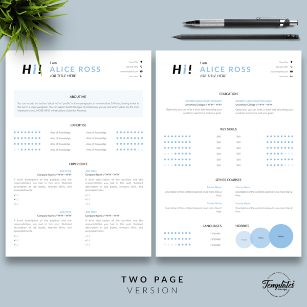 Resume CV Template - Alice Ross 03 - Two Page Version