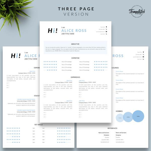 Resume CV Template - Alice Ross 04 - Three Page Version