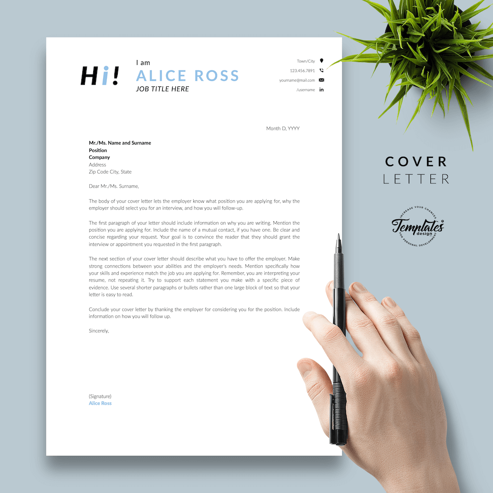 Creative Resume Format - Alice Ross 05 - Cover Letter