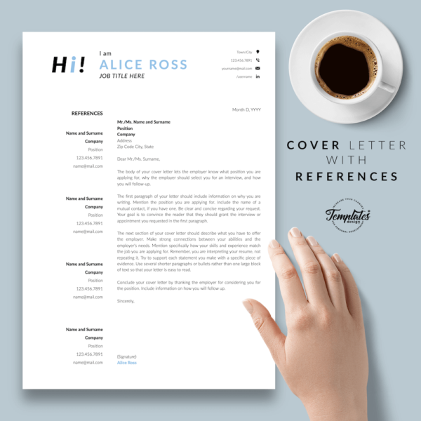 Resume CV Template - Alice Ross 07 - Cover Letter with References