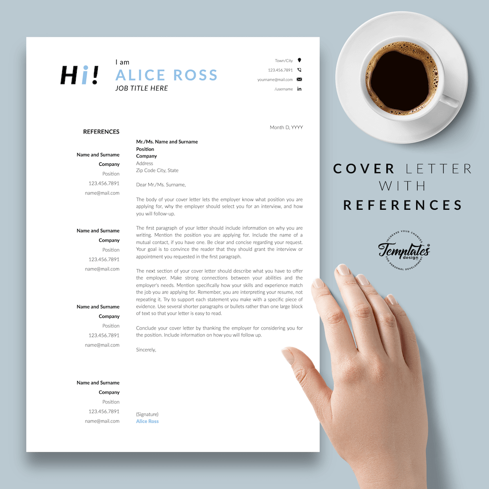 Creative Resume Format - Alice Ross 07 - Cover Letter with References