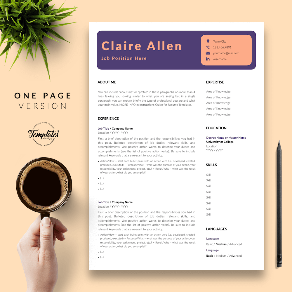 Creative CV for Any Job - Claire Allen 02 - One Page Version