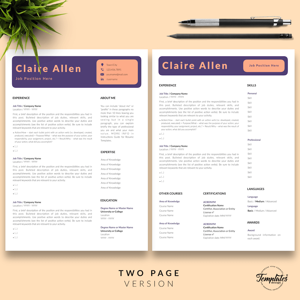 Creative CV for Any Job - Claire Allen 03 - Two Page Version