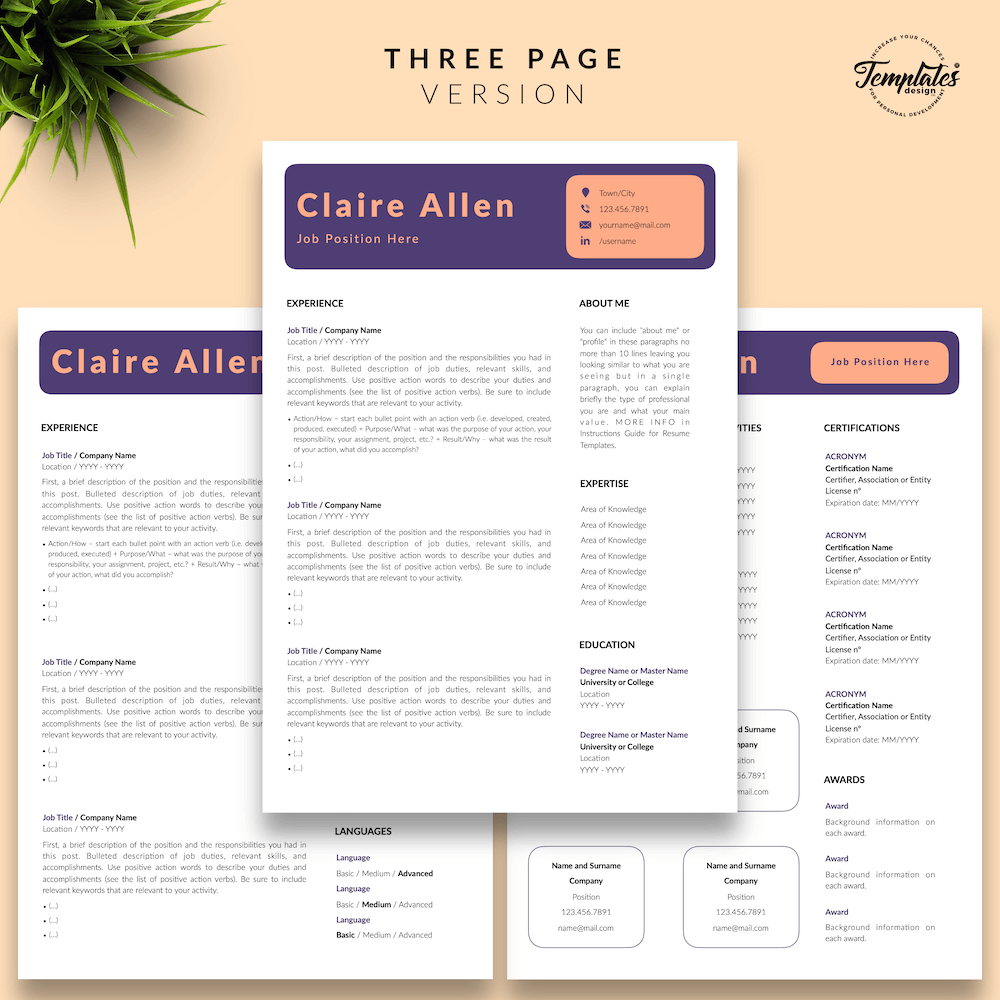 Creative CV for Any Job - Claire Allen 04 - Three Page Version