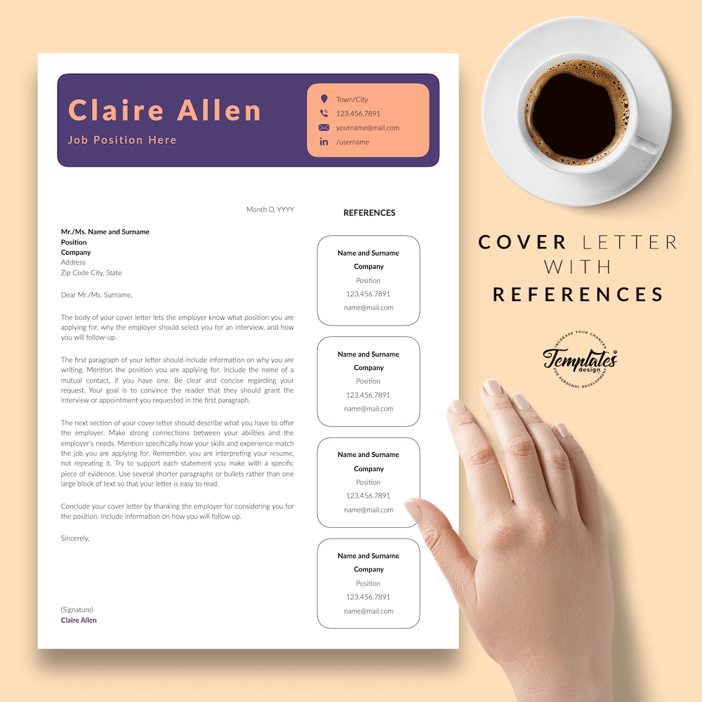 Creative CV for Any Jobe - Claire Allen 07 - Cover Letter with References