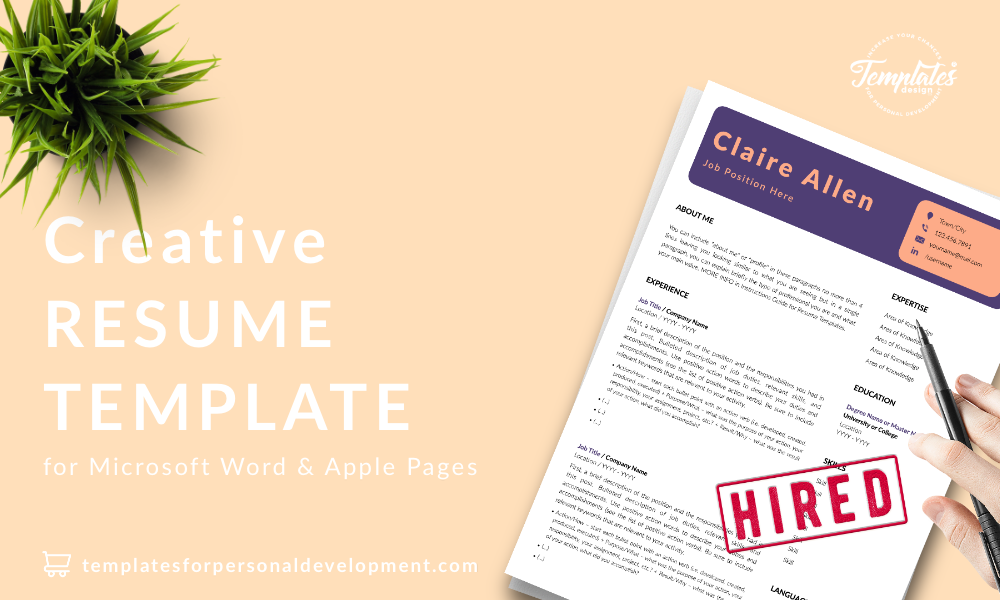 Resume CV Template : Claire Allen 22 - Post