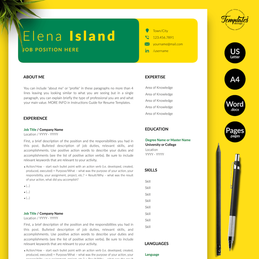 Professional Resume for Word - Elena Island 01 - Presentation