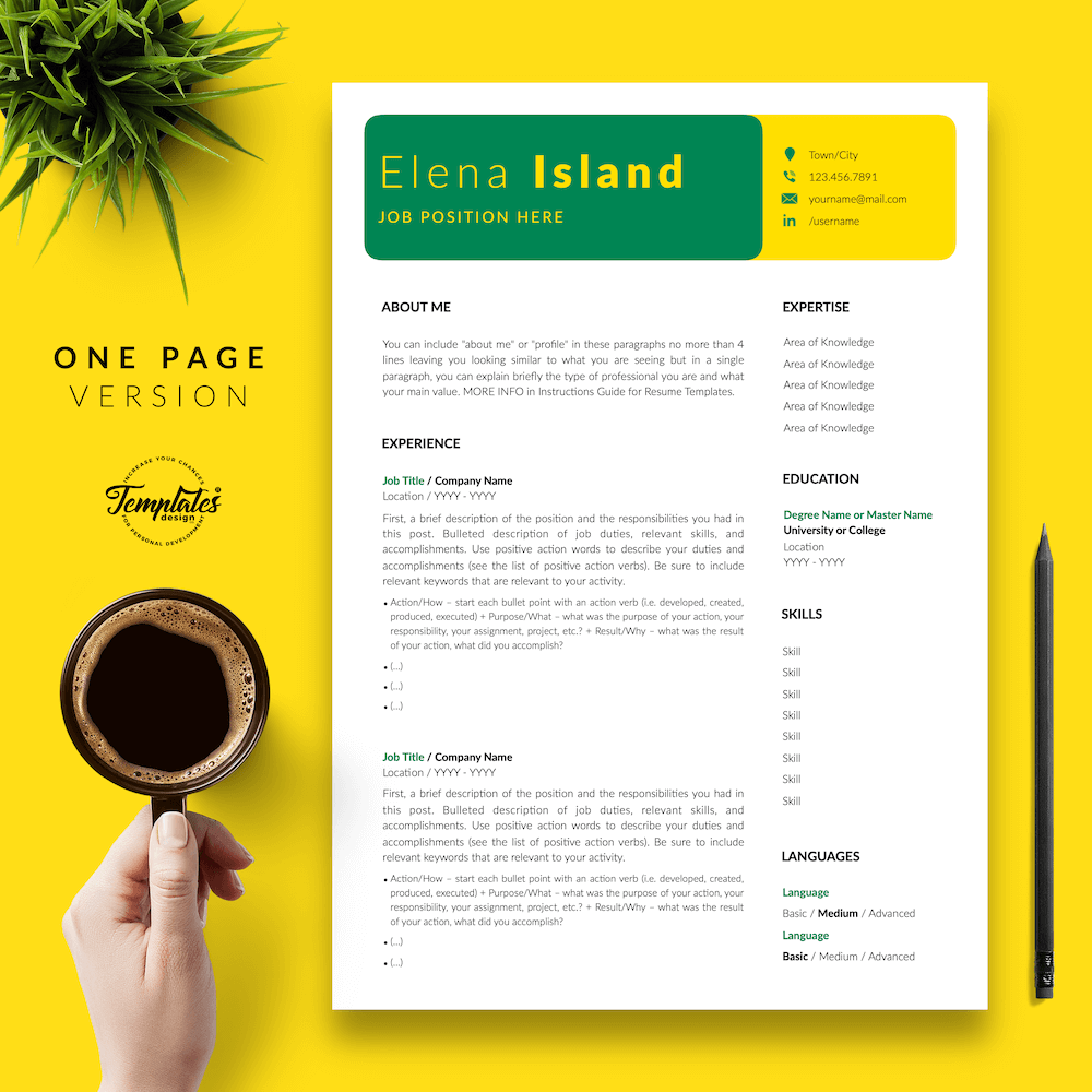 Professional Resume for Word - Elena Island 02 - One Page Version