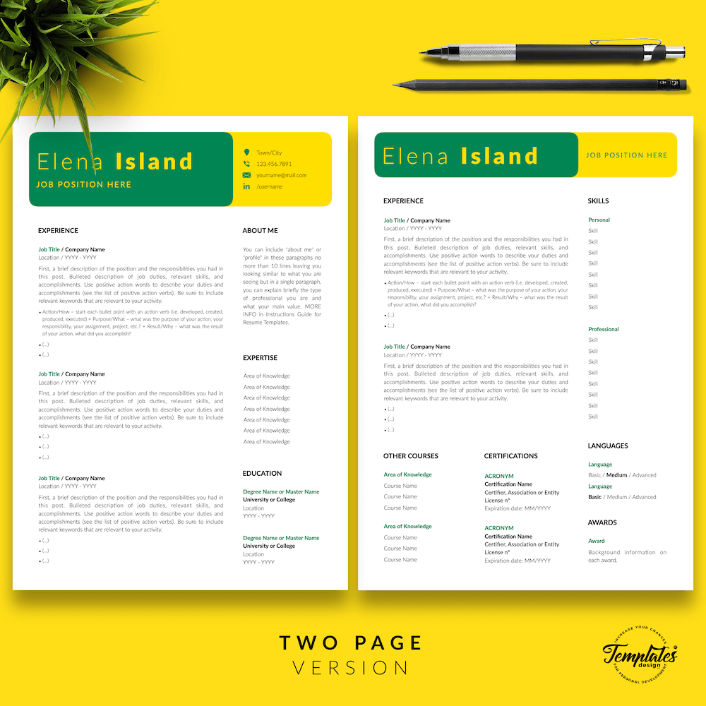 Professional Resume for Word - Elena Island 03 - Two Page Version