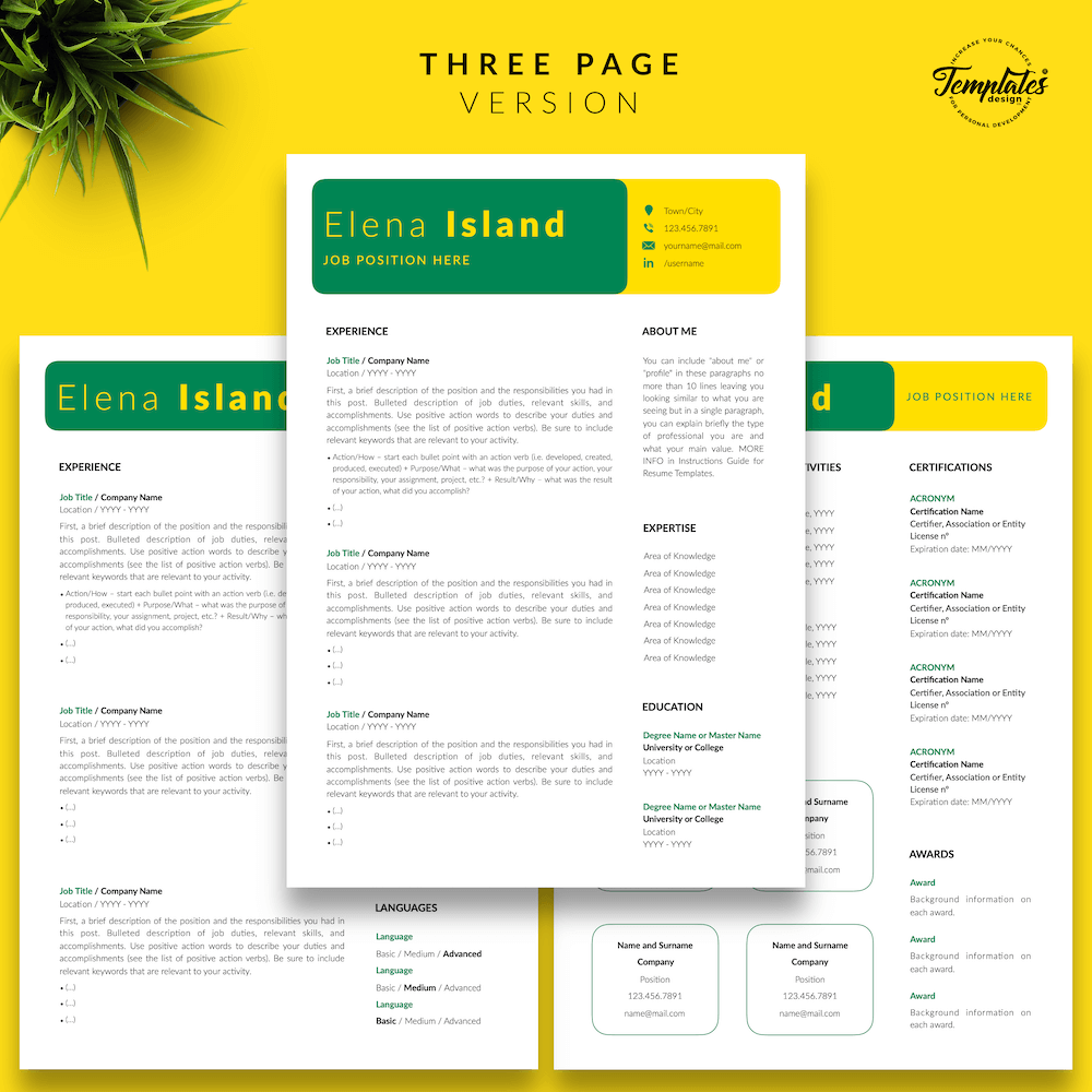 Professional Resume for Word - Elena Island 04 - Three Page Version