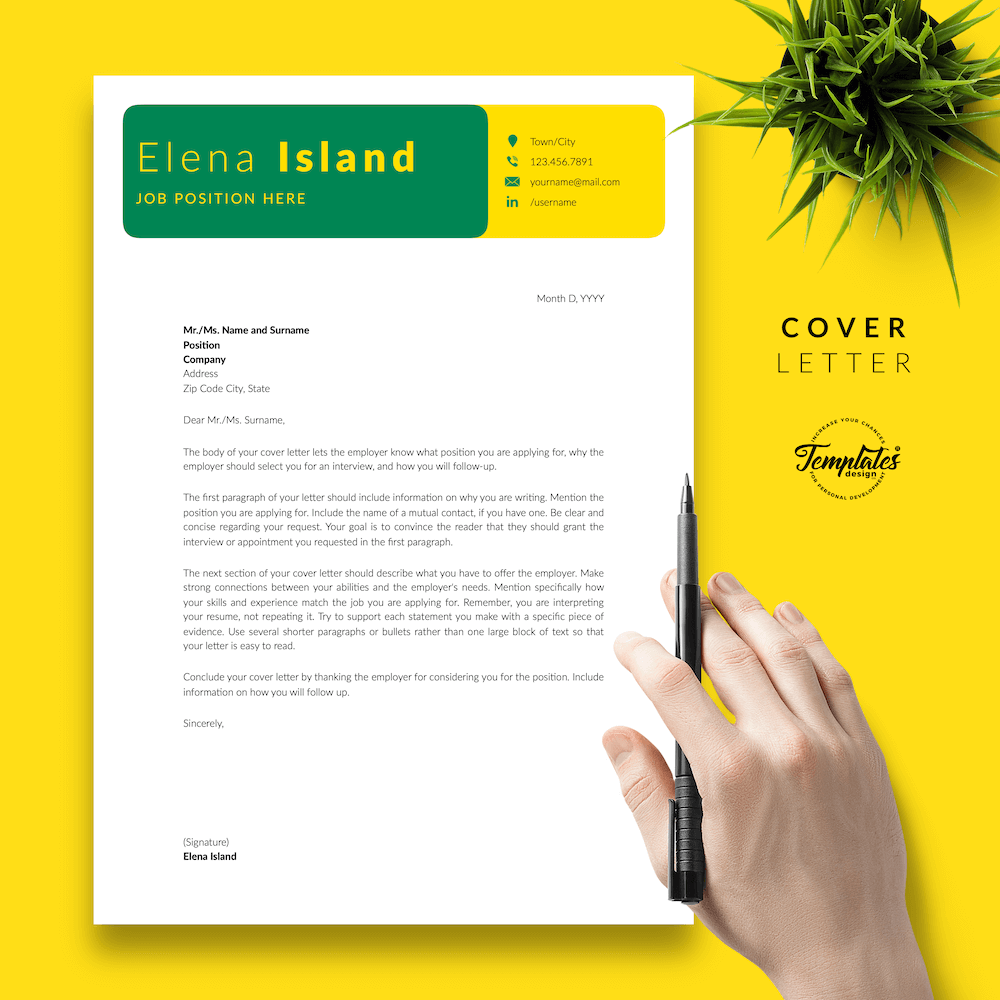 Professional Resume for Word - Elena Island 05 - Cover Letter