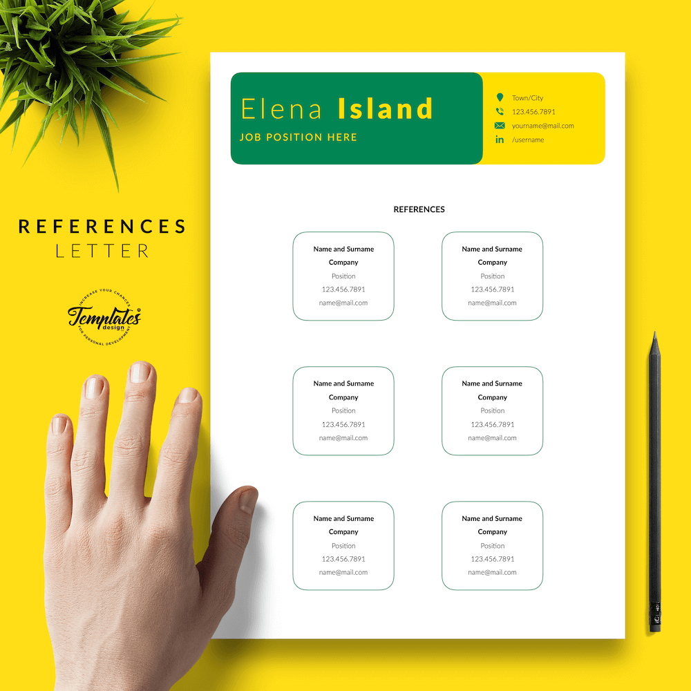 Professional Resume for Word - Elena Island 06 - References