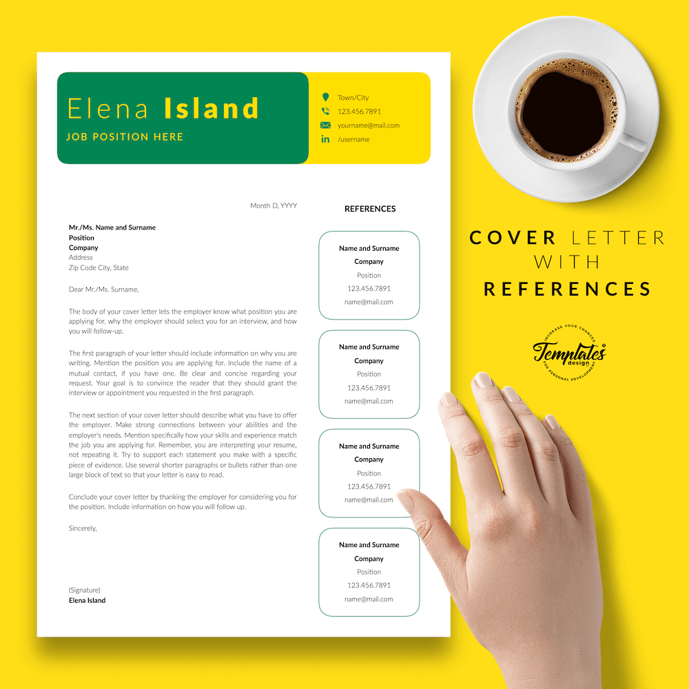 Professional Resume for Word - Elena Island 07 - Cover Letter with References
