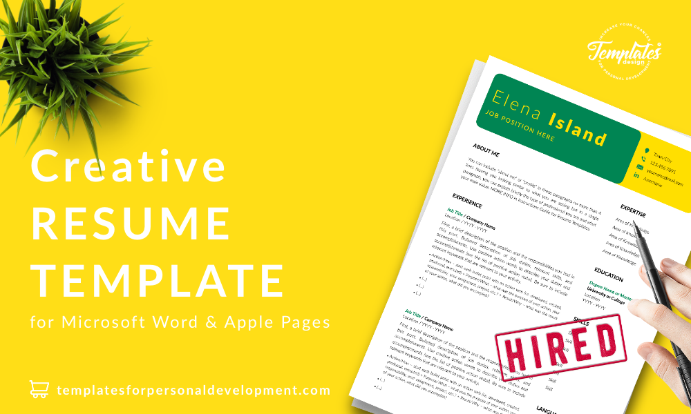 Resume CV Template : Elena Island 22 - Post