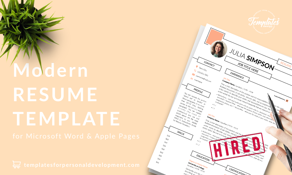 Resume CV Template : Julia Simpson 22 - Post