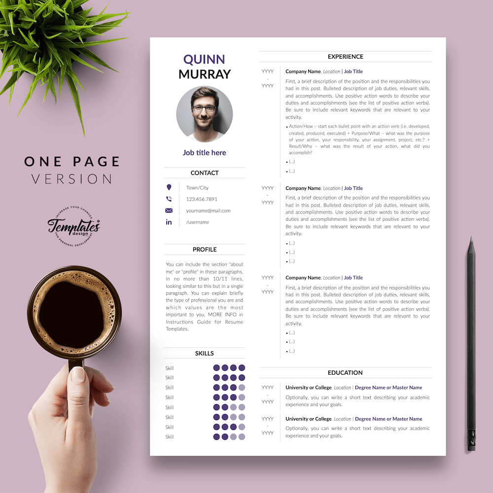 Modern Resume Design - Quinn Murray 02 - One Page Version