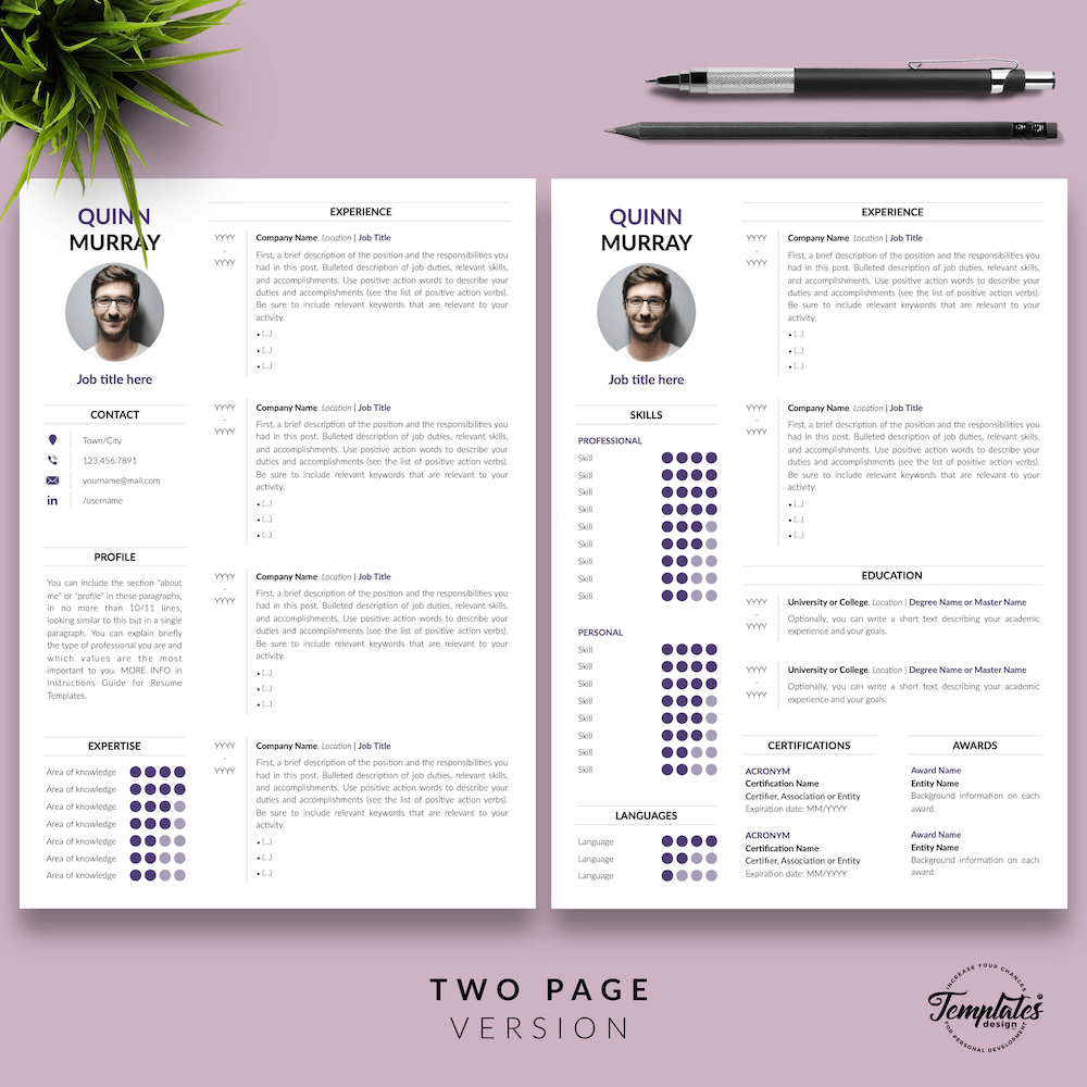 Modern Resume Design - Quinn Murray 03 - Two Page Version