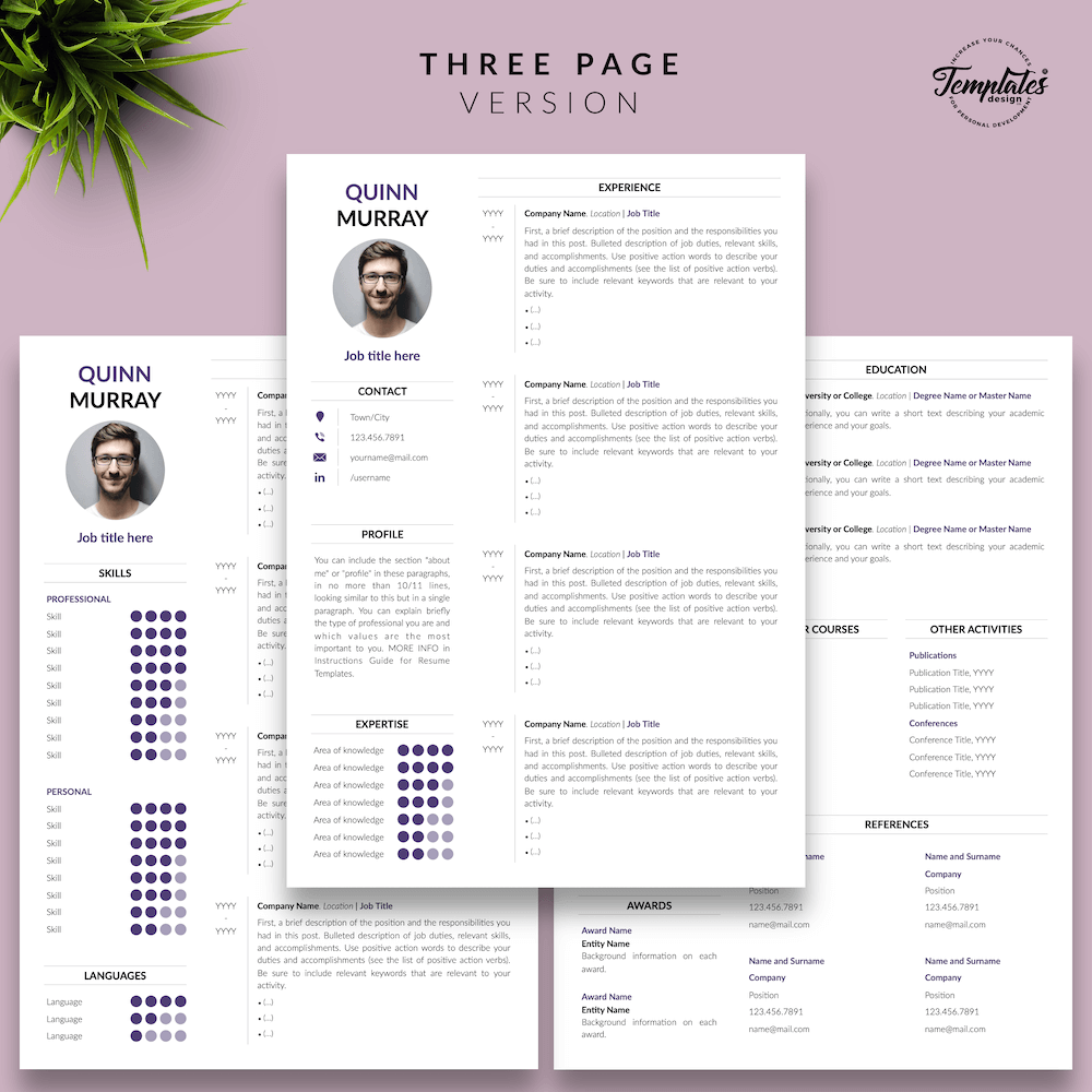 Modern Resume Design - Quinn Murray 04 - Three Page Version
