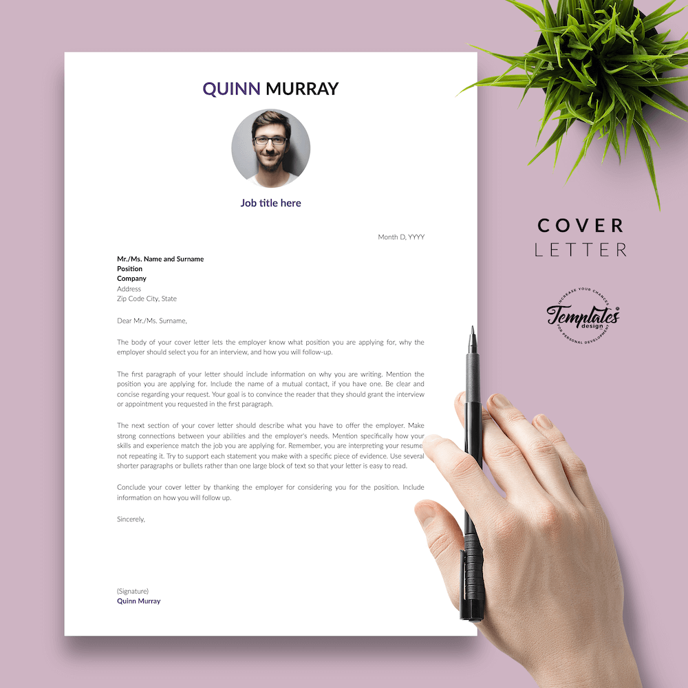 Modern Resume Design - Quinn Murray 05 - Cover Letter