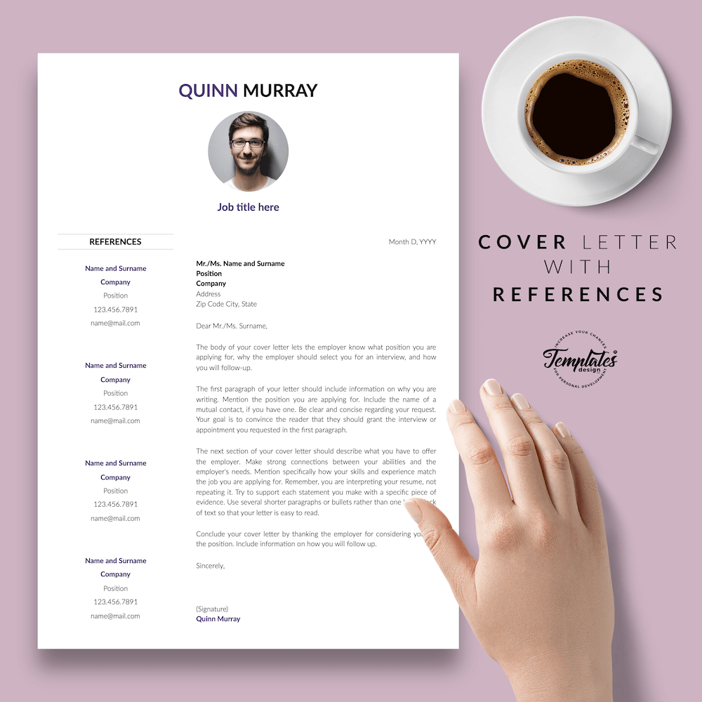 Modern Resume Design - Quinn Murray 07 - Cover Letter with References
