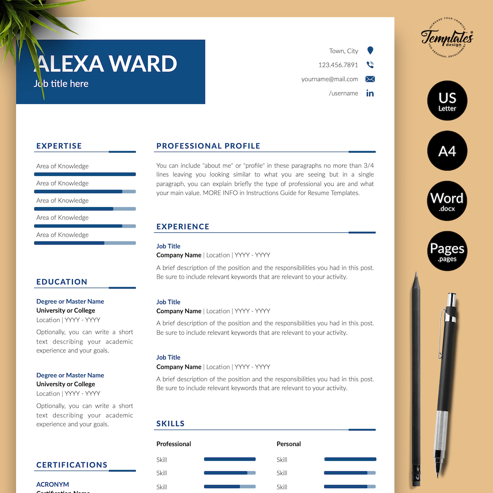 Professional CV for Word - Alexa Ward 01 - Presentation