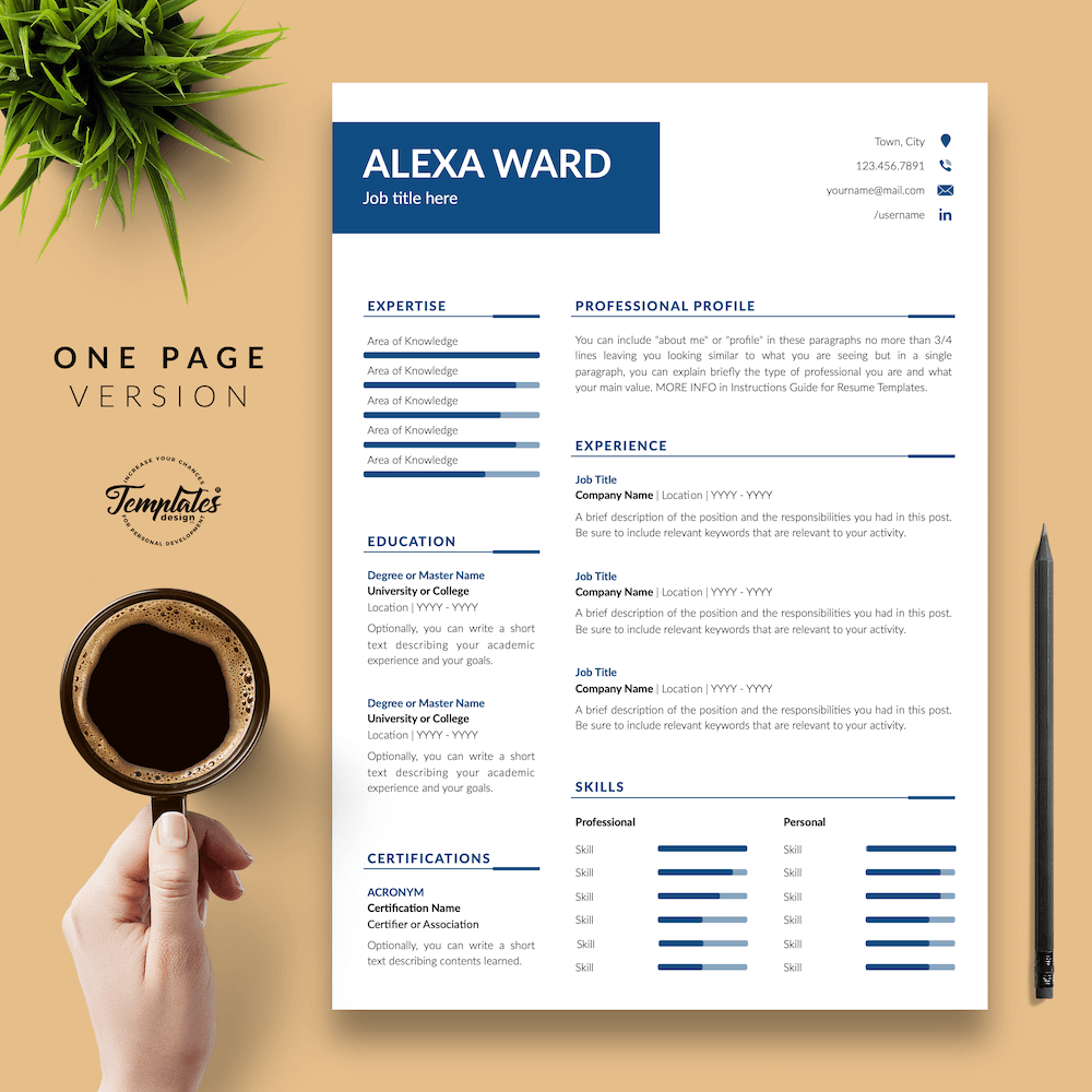 Professional CV for Word - Alexa Ward 02 - One Page Version