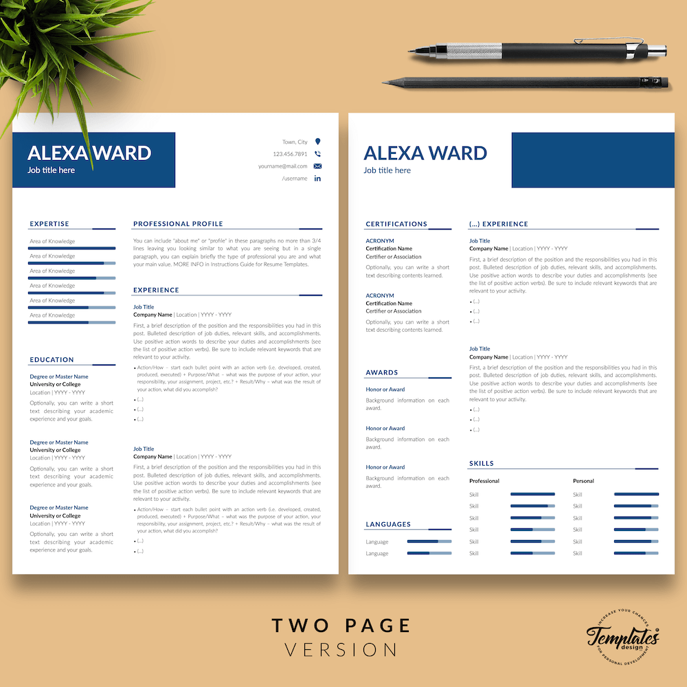 Professional CV for Word - Alexa Ward 03 - Two Page Version