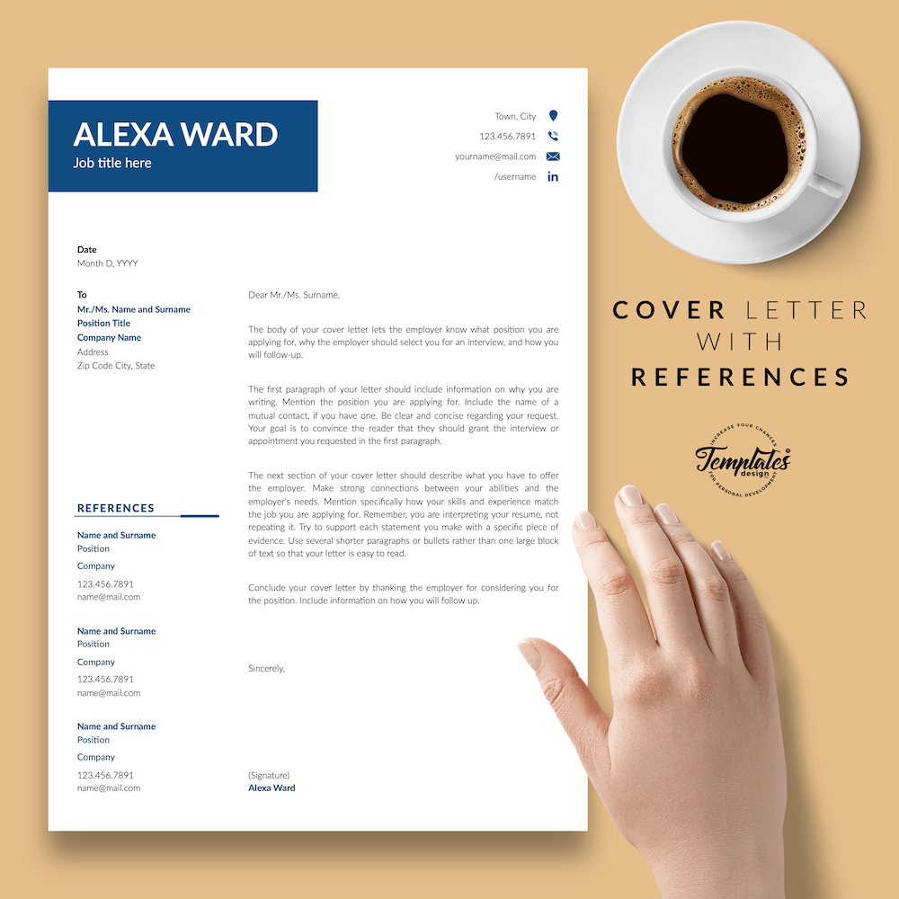 Professional CV for Word - Alexa Ward 07 - Cover Letter with References