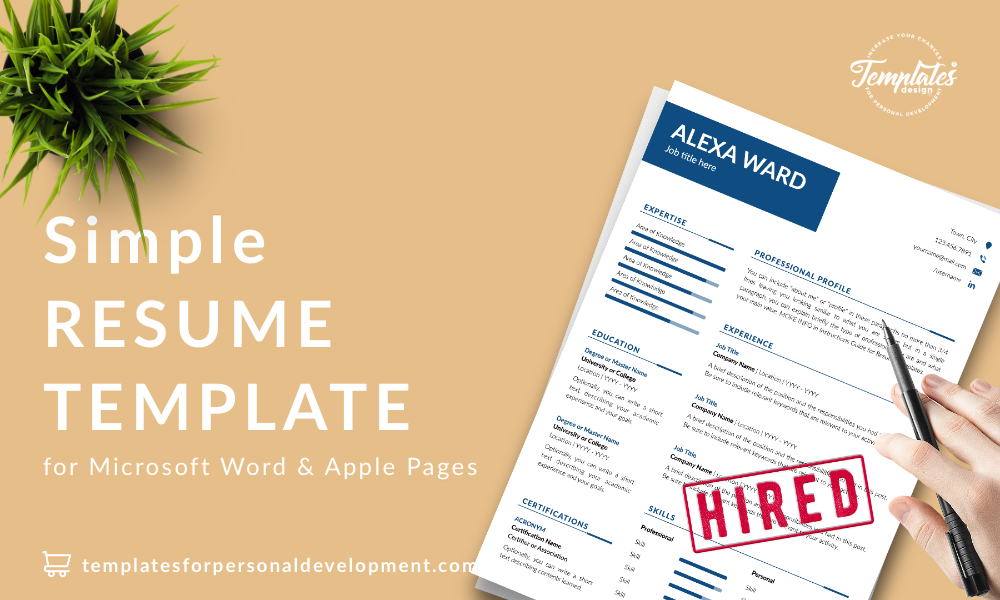 Resume CV Template : Alexa Ward 22 - Post