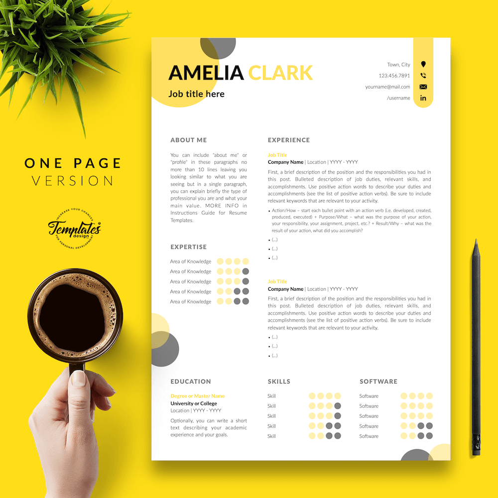 Graphic Designer Resume - Amelia Clark 02 - One Page Version