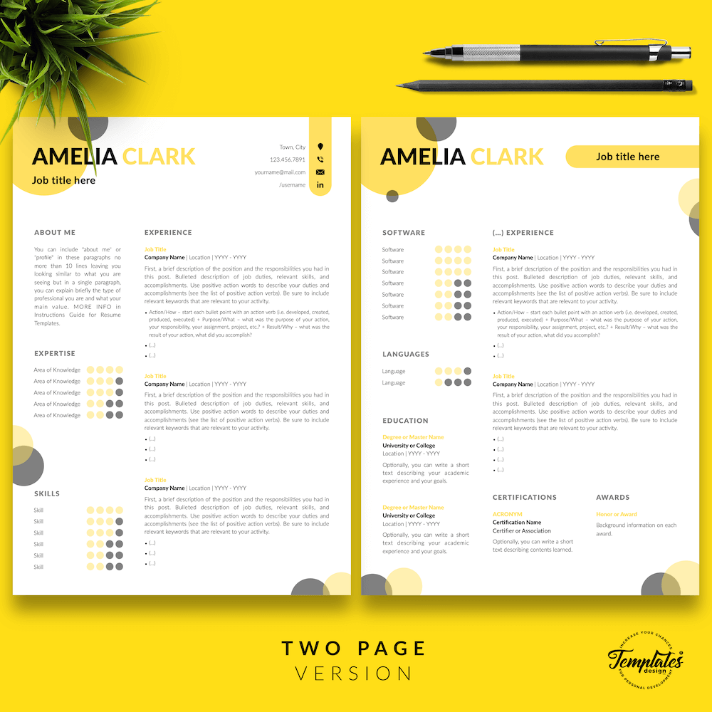 Graphic Designer Resume - Amelia Clark 03 - Two Page Version