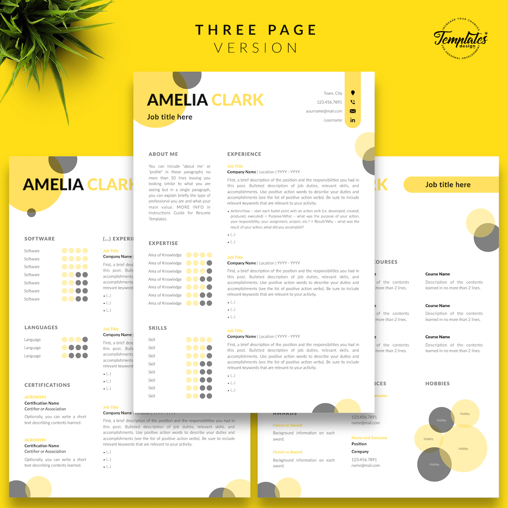 Graphic Designer Resume - Amelia Clark 04 - Three Page Version